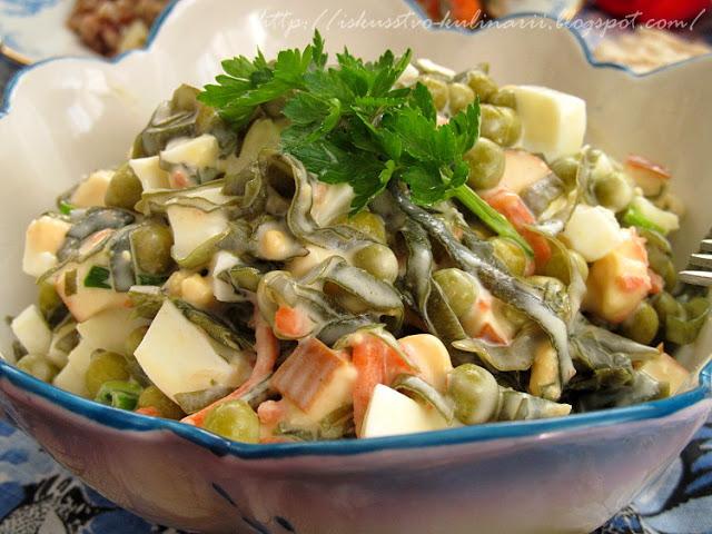 Салат с морской капустой (очень вкусный!)
