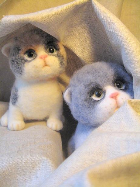 Войлочные игрушки - котята. Фото