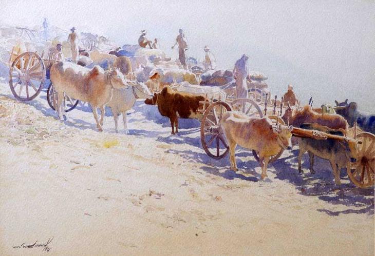 Акварельные картины художник Мьё Вин Онг 27
