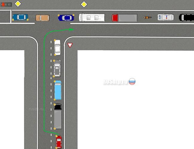 Разрешен ли водителю красного автомобиля указанный маневр?