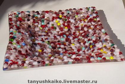 """Тарелки ручной работы. Ярмарка Мастеров - ручная работа Тарелочка """"Самоцветы"""" стекло, фьюзинг. Handmade."""