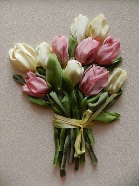 Тюльпаны. Вышивка лентами