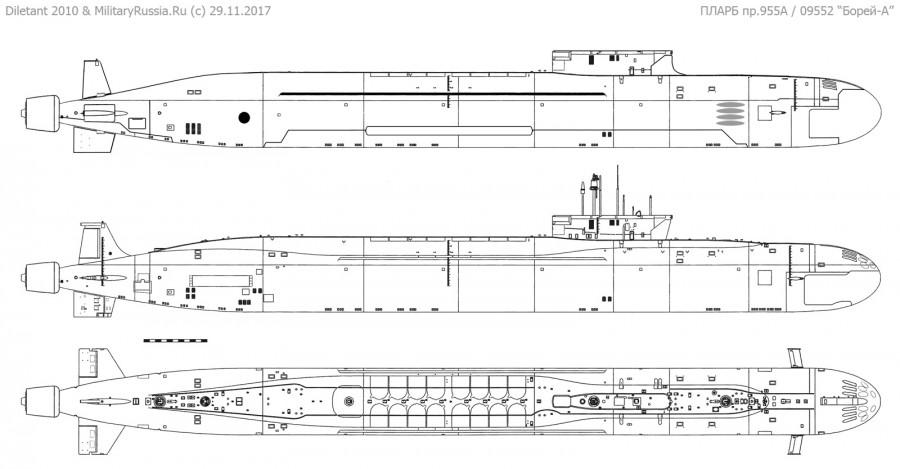 Предположительный облик атомного подводного ракетного крейсера проекта 09552