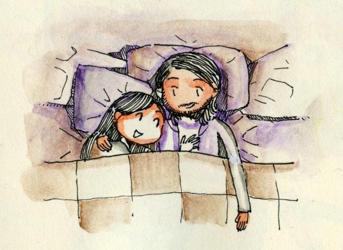Первая ночь вместе Любовь, история, комикс, любовь на расстоянии, рисунки, романтика, творчество, художник