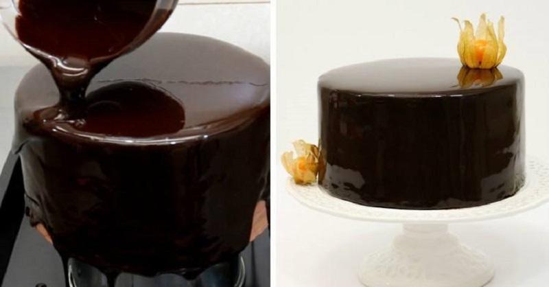 зеркальная шоколадная глазурь для торта