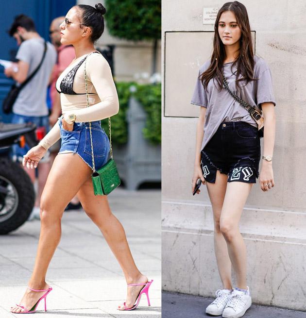 Девушка в джинсовых шортах, футболке