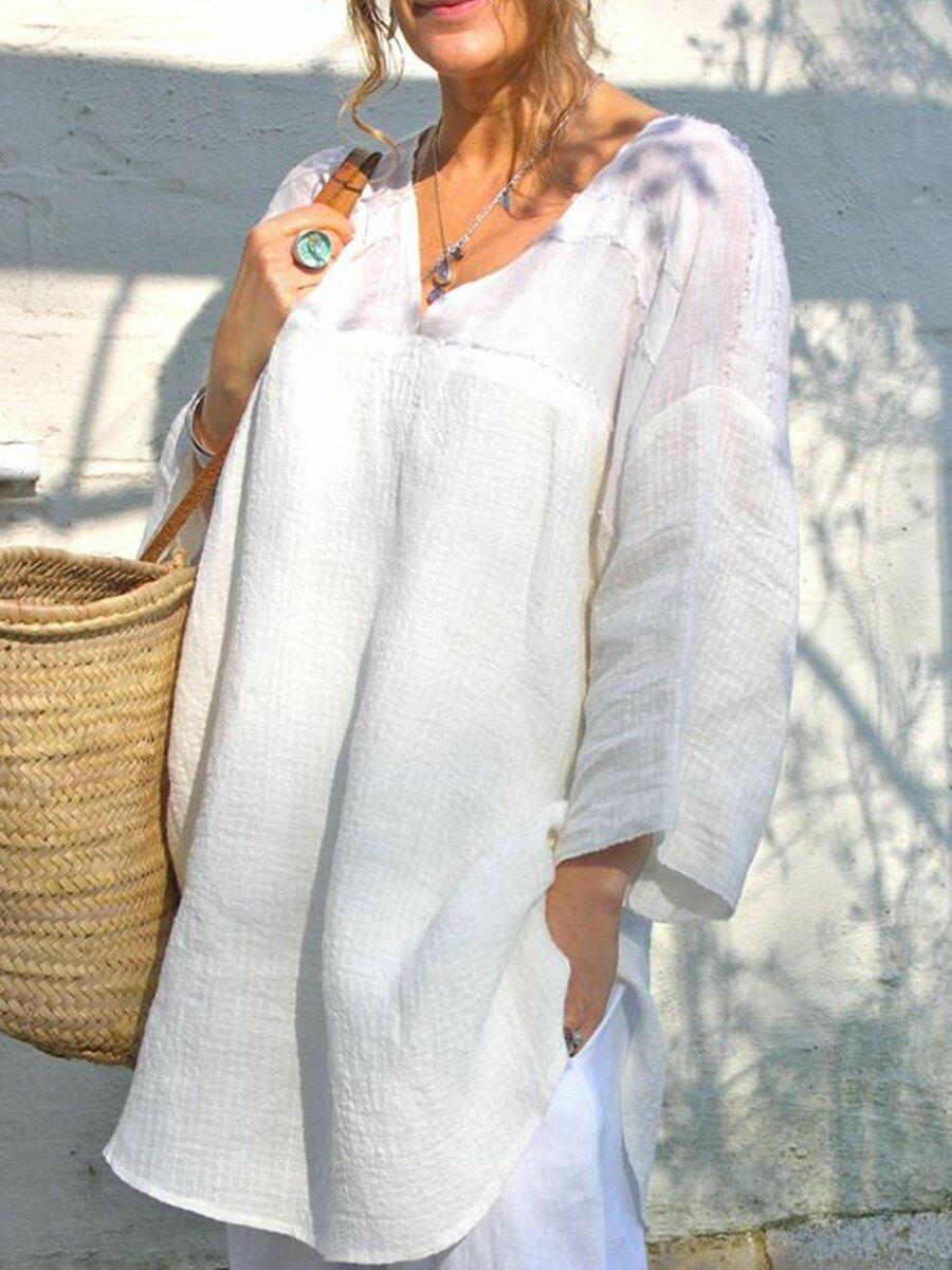 Летний образ с белой туникой. /Фото: i.pinimg.com