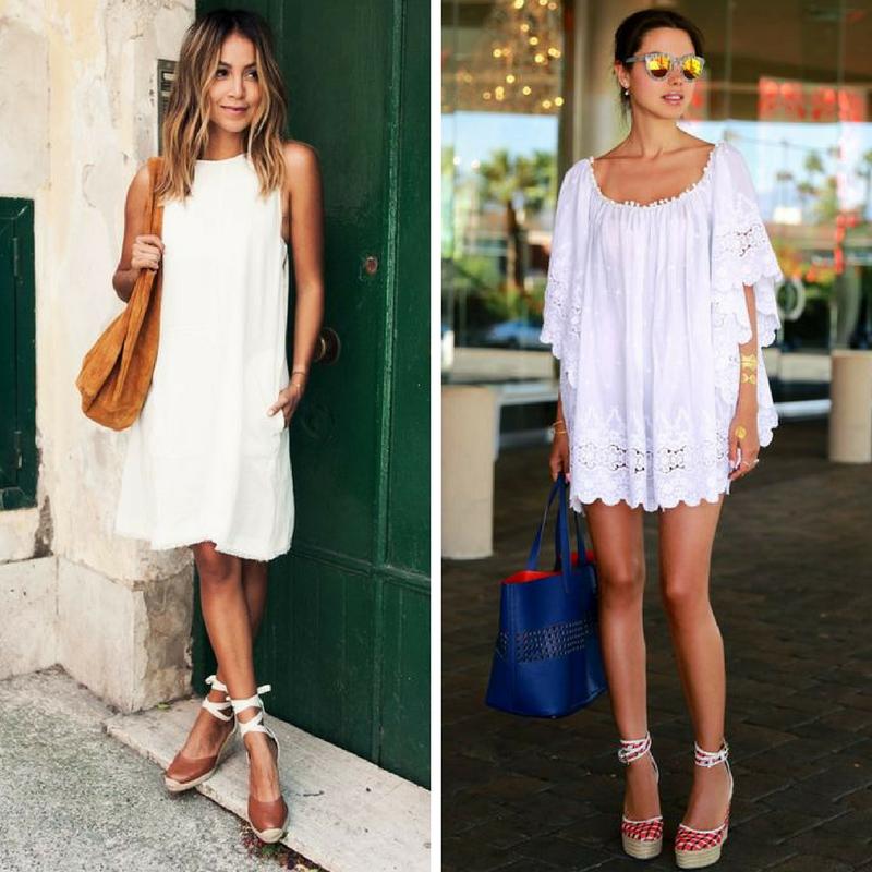 Загорелые девушки в белых платьях