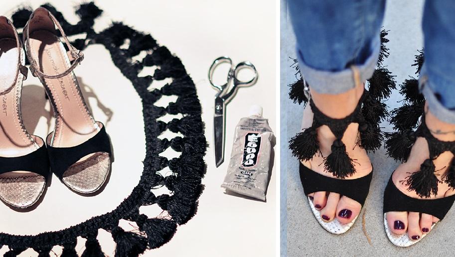Превратите обычные босоножки в дизайнерскую обувь за 10 минут