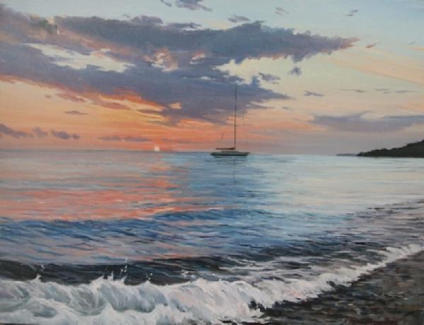 море,вечер,закат,прибой,волна,солнце,морской пейзаж,реализм.