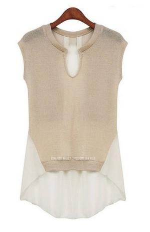 Интересная идея для переделок — блузка из трикотажа и шифона