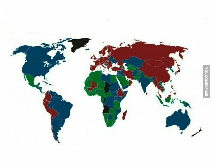 На этой карте страны раскрашены в цвета паспортов граждан!