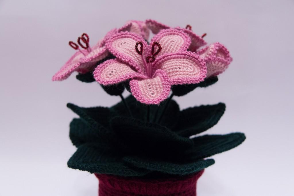 Вязание крючком цветок в горшочке 94