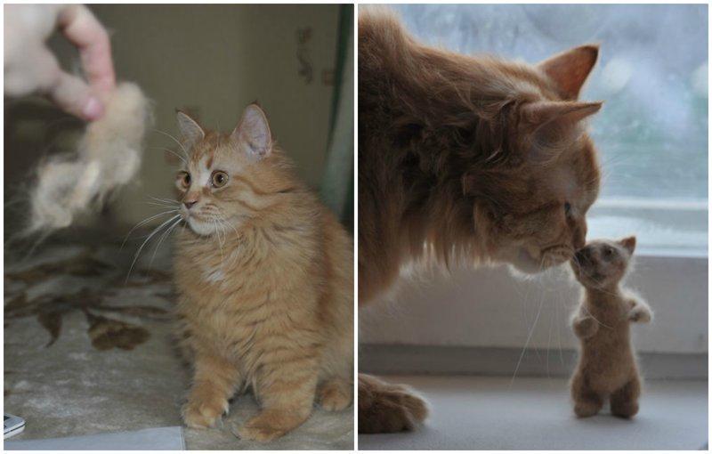 Кошачье рукоделие: из вычесанной шерсти кота сделали его мини-версию