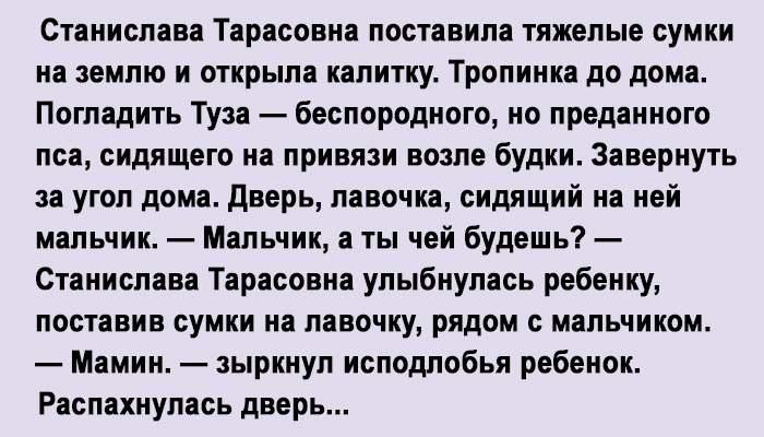 Алису, сожительницу сына, Станислава Тарасовна не видела даже на фотографиях. Сын не баловал мать приездами…
