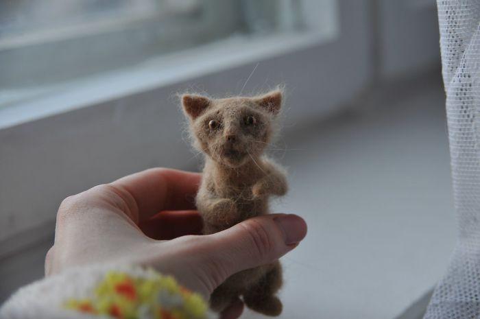 Мой первый опыт валяния — мини-версия моей кошки из ее шерсти