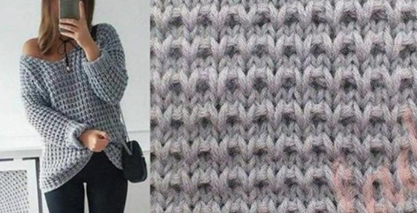 Крупный узор для вязания пул…