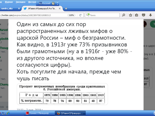 Миф  о безграмотности  в  Российской  империи