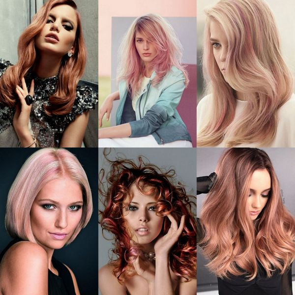 Розово-золотой оттенок волос: 22 соблазнительных образа