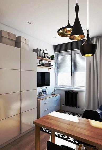 Компактный дизайн: гостиная-спальня, кухня-столовая, рабочий кабинет и отдельная ванная - и все это на 19 кв. м!