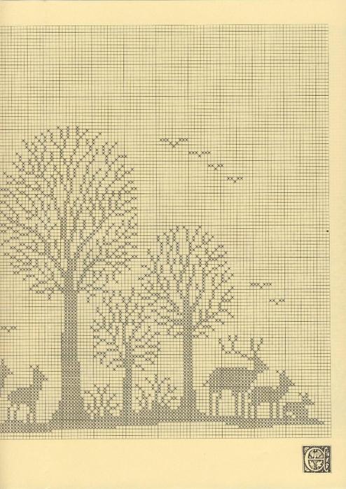 Потрясающая филейная штора с лесным пейзажем