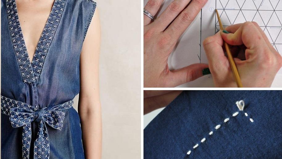 Затейливый декор: украсьте вещи вышивкой сашико
