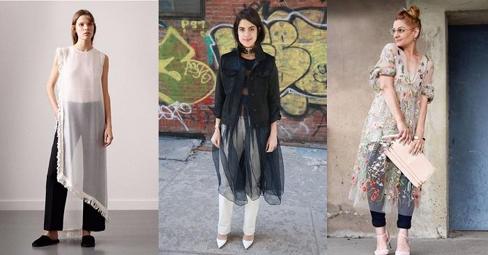 Прозрачное платье + брюки - очень женственное сочетание