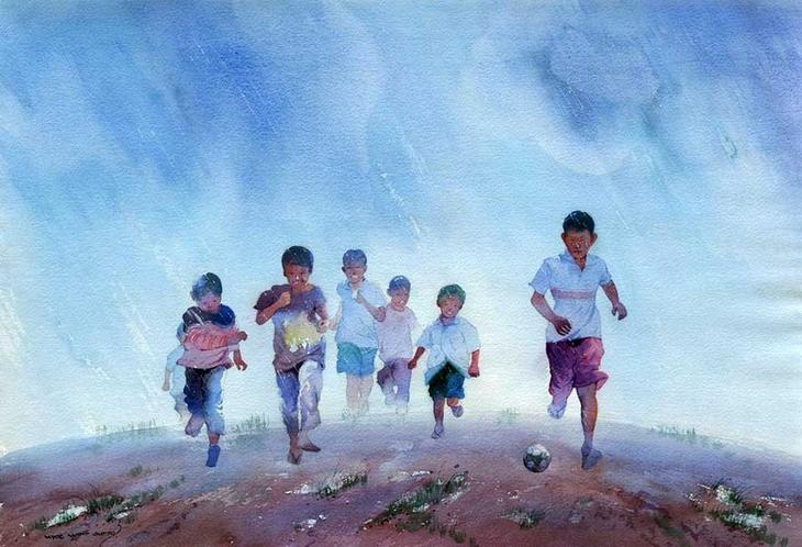 Акварельные картины художник Мьё Вин Онг 20