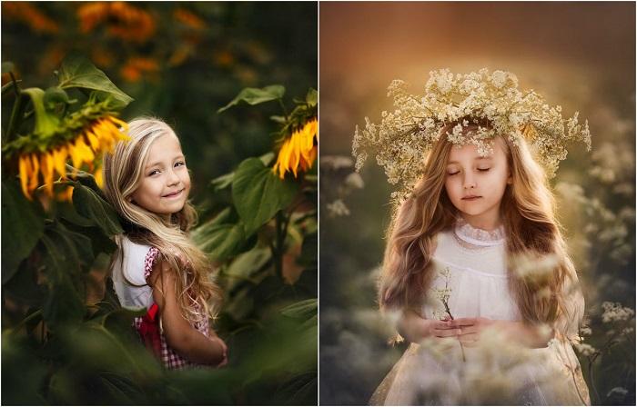 Мама-фотограф делает портреты дочки с цветами в разное время года