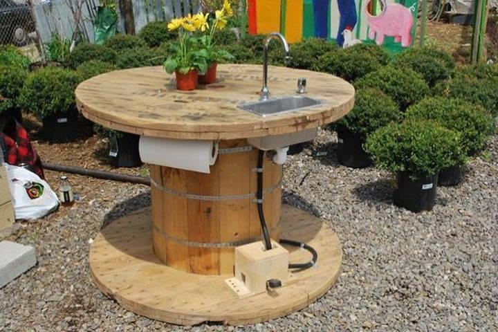 Необыкновенное превращение кабельных барабанов кабельные барабаны, сад, своими руками, сделай сам, столы