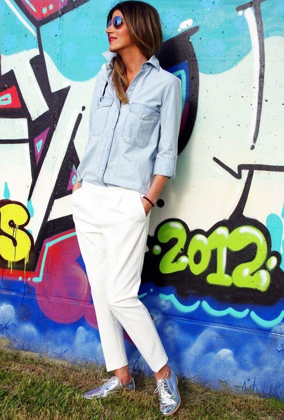 20 новых луков с рубашкой и джинсами