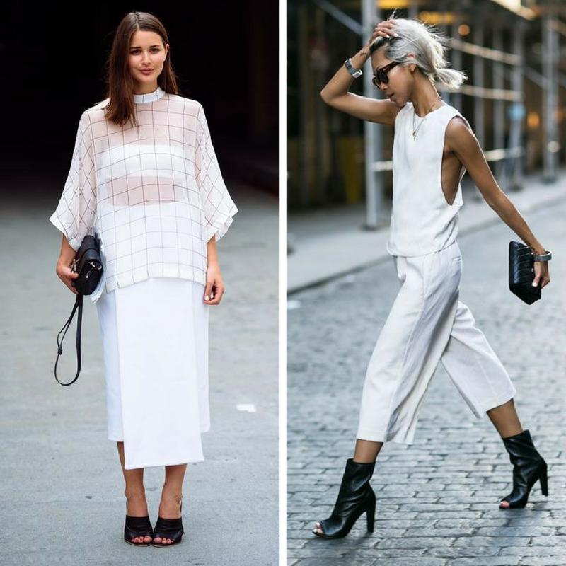 Белая одежда с черной обувью и сумочкой