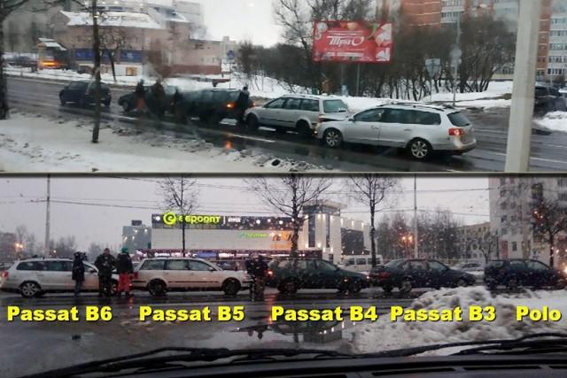 Вот так встреча! В Витебске столкнулись несколько поколений Volkswagen Passat и один Polo
