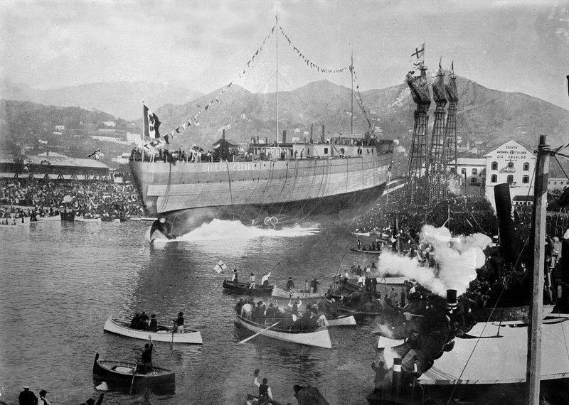 Спуск на воду линкора Джулио Чезаре на верфи Ансальдо 15 октября 1911г история, люди, мир, фото