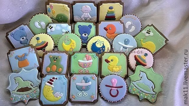 Пряники имбирные детские - подарок к рождению малыша, на годик и как пряничные подарки детям на день рождения в садик.
