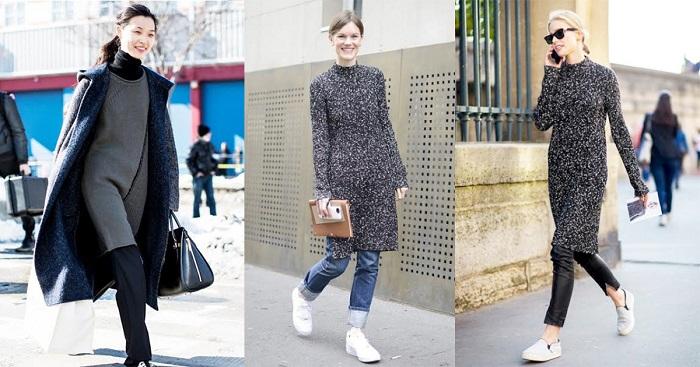 Вязаное платье + брюки - удобный образ в прохладный день