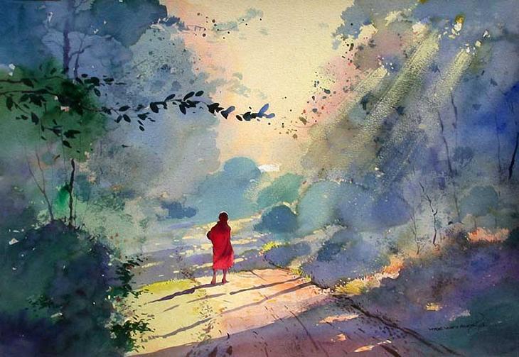 Акварельные картины художник Мьё Вин Онг 12