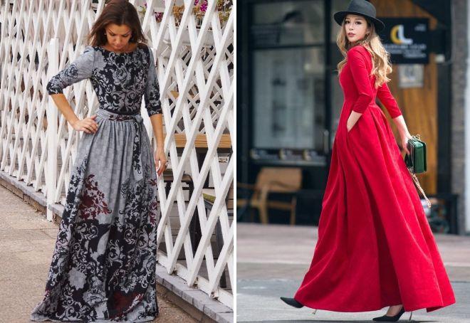 осенние длинные платья
