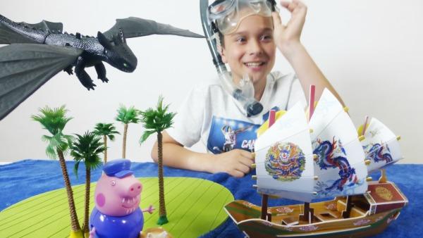 Путешествие в Китай на корабле из 3D пазлов! Костя ИгроБой и дедушка Свин на необитаемом острове!