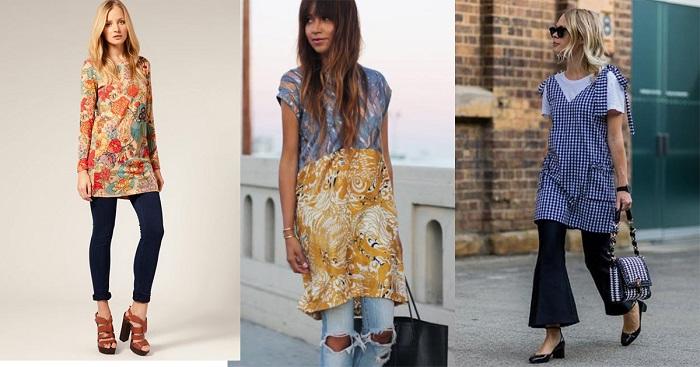 Короткое платье и брюки - отличная идея для юных девушек