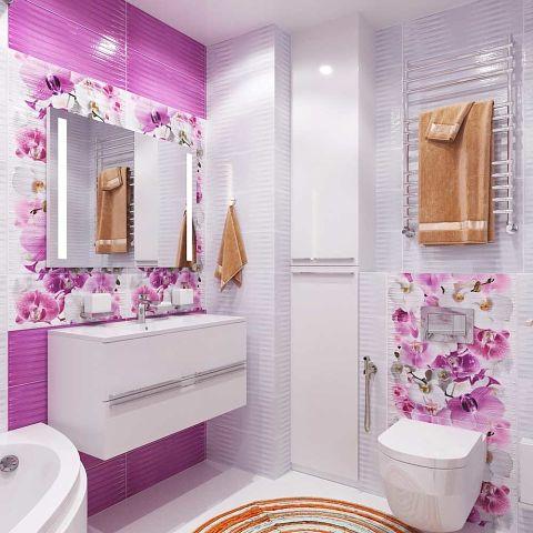 Нежный цвет в интерьере ванн…