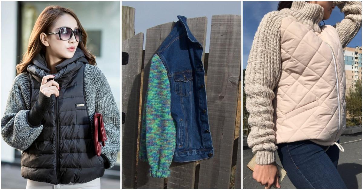 Одежда с вязаными рукавами — стильная идея для осенних холодов