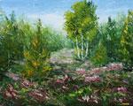 Живопись мастихином: Цветы на поляне в лесу. Rybakow.com - картины мастихином.