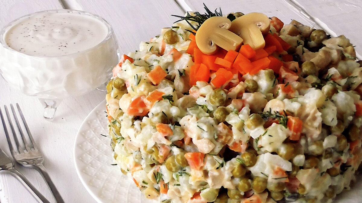 Постный салат а-ля Оливье. Плюс рецепт настоящего постного Майонеза!