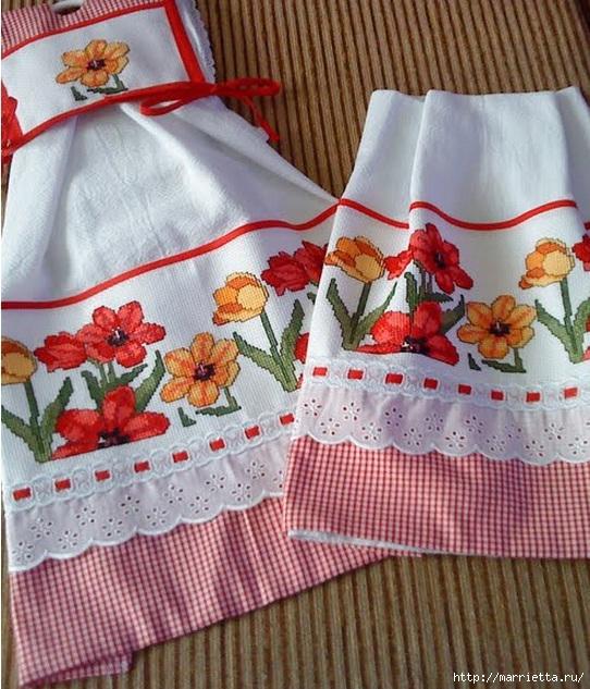 Подборка красивых идей вышивки для скатерти и полотенца(со схемами)