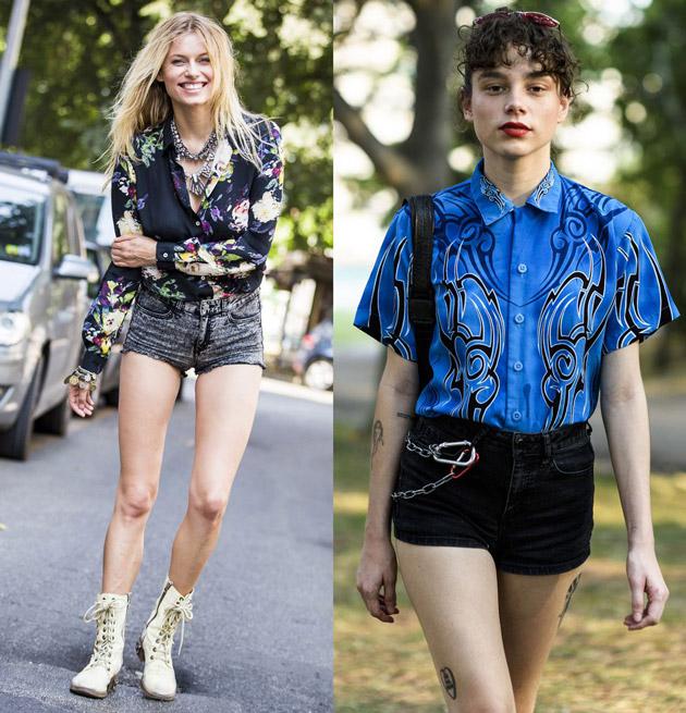 Девушки в темных джинсовых шортах и винтажных блузках, военные ботинки