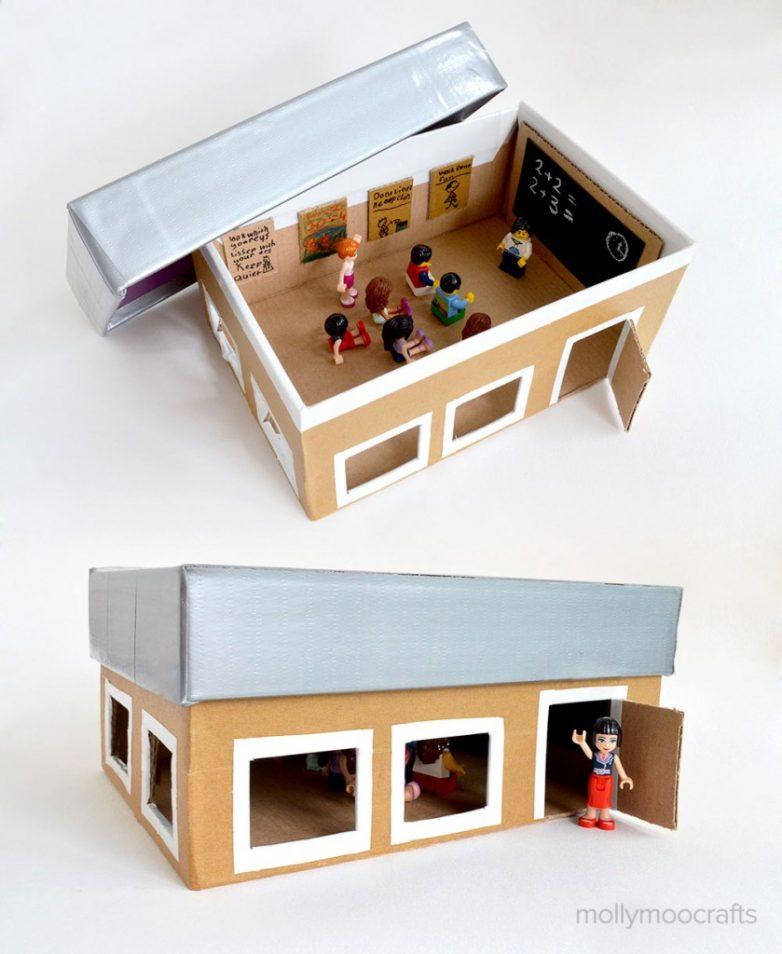 Как сделать школу из картона для кукол