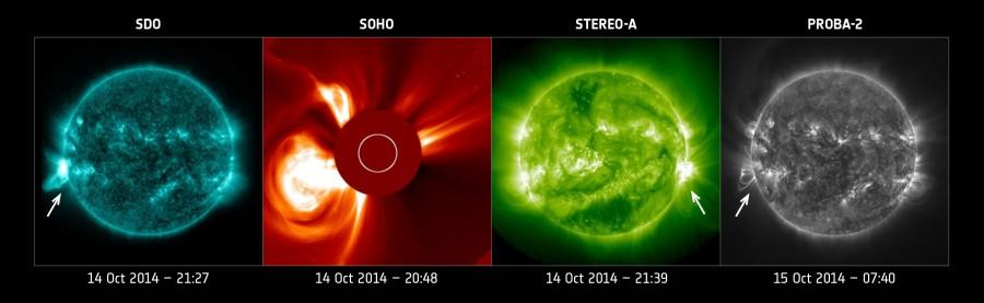 Космические аппараты проследили распространение коронального выброса по Солнечной системе