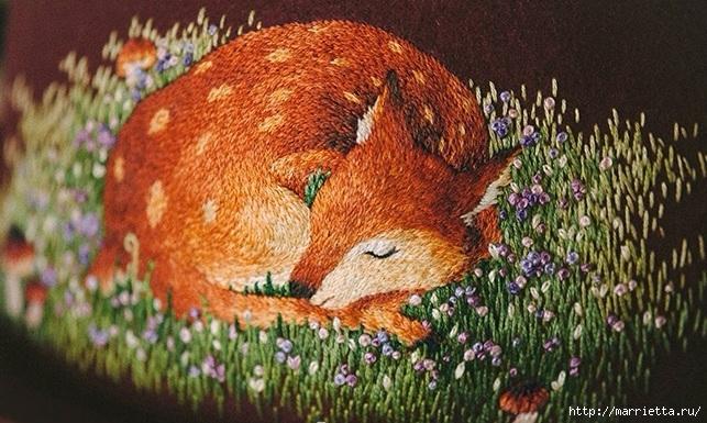 Цветы объемной вышивкой гладью. Красивые работы (49) (643x385, 243Kb)