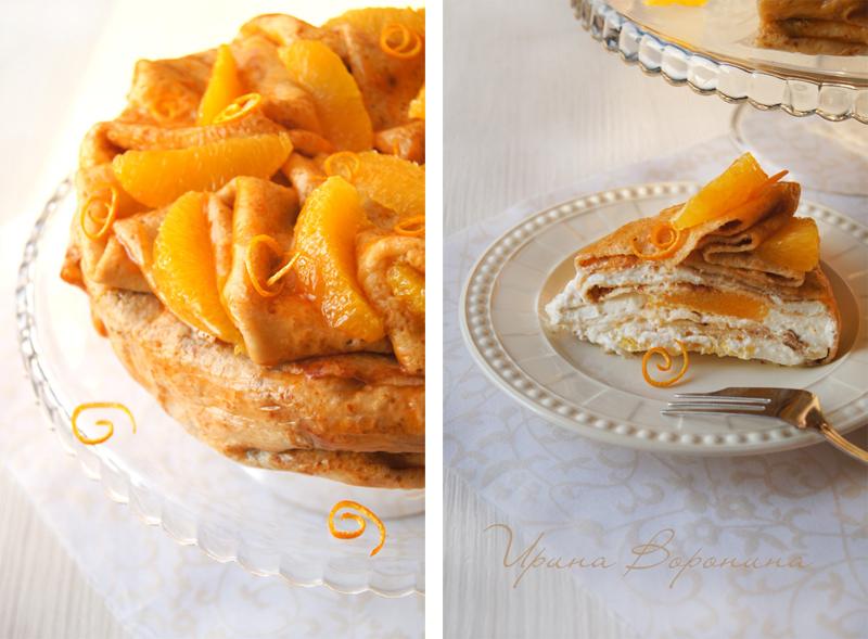 Блинный торт с апельсином и взбитыми сливками